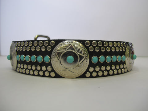 "Santa Fe N 1.5"" Collar Black Leather / Turquoise Stones"