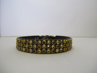 "Triple Row 3/4"" Collar - Chocolate Leather / Brown Crystals"