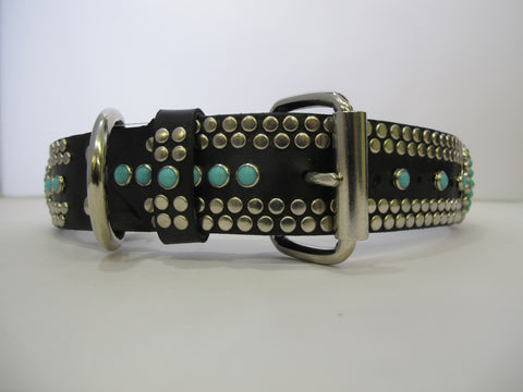 "Santa Fe 1.5"" Collar Black Leather / Turquoise Stones"