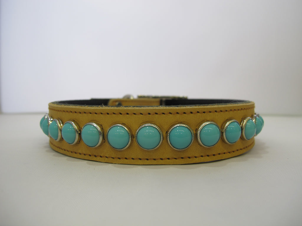 "Single Row 1"" Collar - Napa Tan Leather - Turquoise Stones"