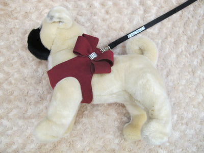 Burgundy Microsuede Step-In Harness Bow