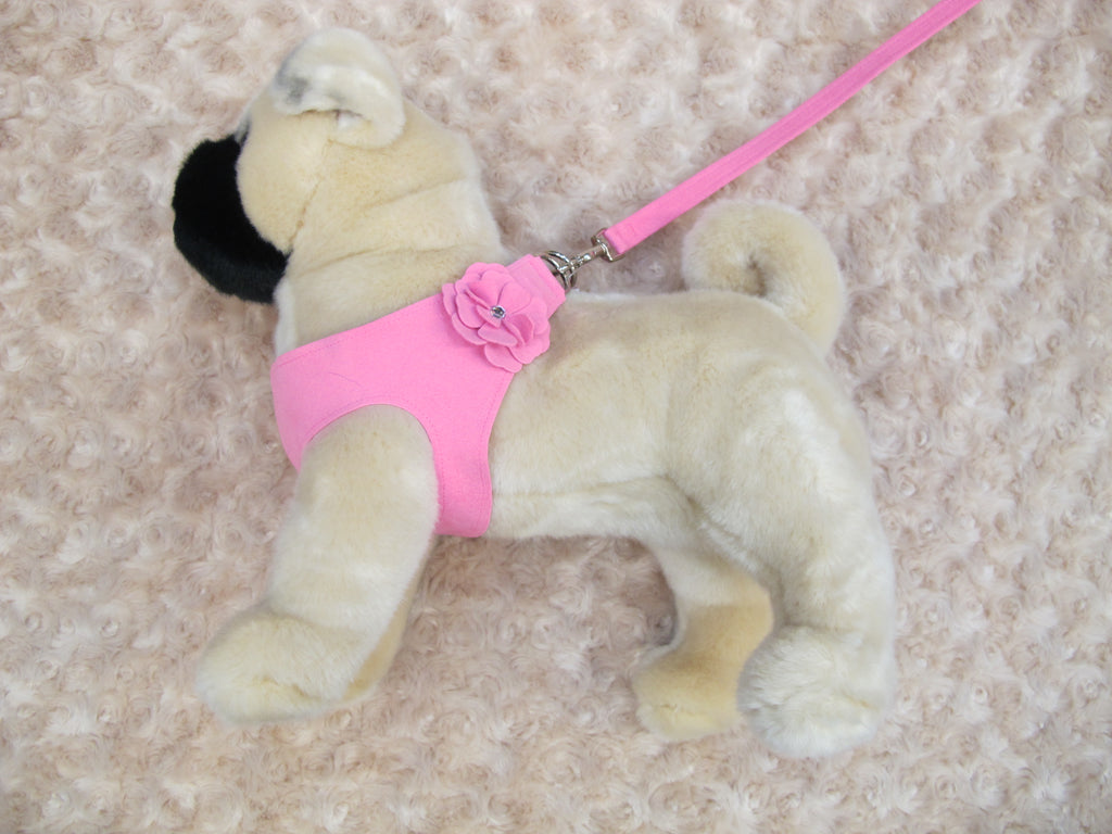 Pink Microsuede Step-In Harness Flower