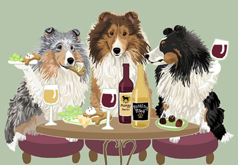 "Dog's ""WINEing"" in Aspen Print Sheltie to Yorkie"