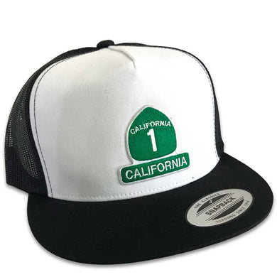 California Highway 1 Hat (Wht/Blk Trucker)