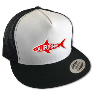 California Shark Hat (Wht/Blk Trucker)