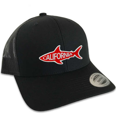 California Shark Hat (Black Trucker)