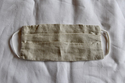 Natural linen face mask, pleated