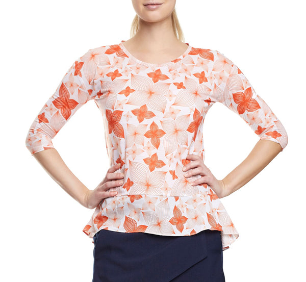 Floral Print Back Pleat Modal T-shirt - Tempeste