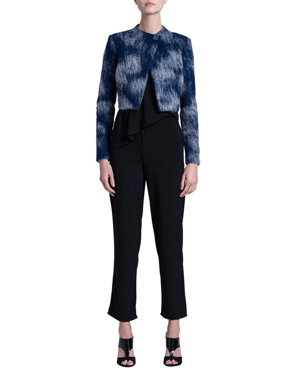 Navy Blue Mohair Wool Cropped Jacket - Tempeste
