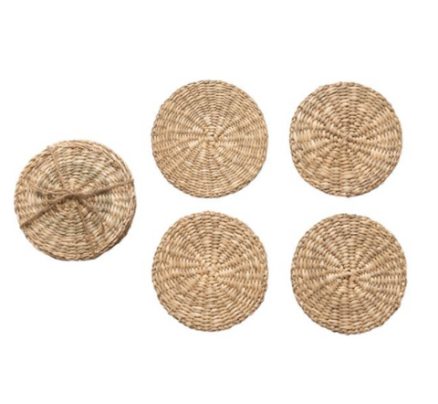Round Seagrass Coasters, Set of 4