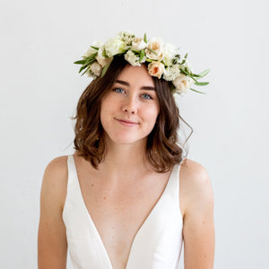 White and Cream Flower Crown - Sage Sisters