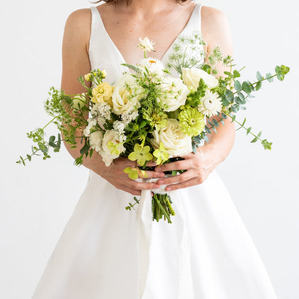 White Bridesmaids Bouquet - Sage Sisters