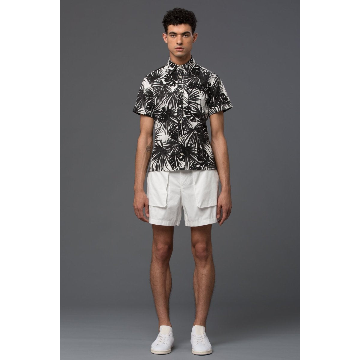 Krammer and Stoudt Black Palm Print Shirt