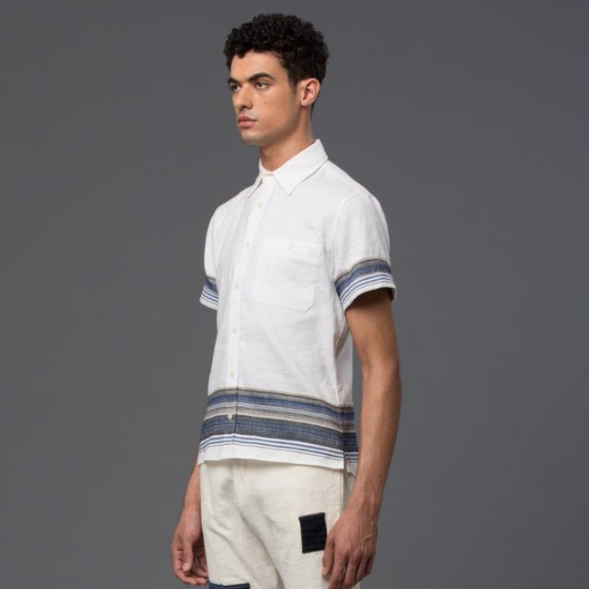 Krammer and Stoudt White Striped Short Sleeve Shirt
