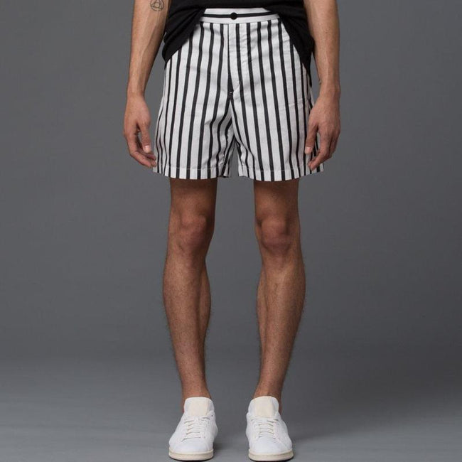 Carlos Campos Black and White Stripe Shorts