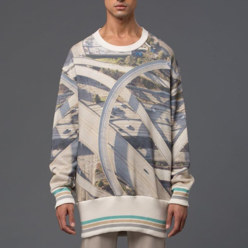 Garcaivelez Highway Print Oversized Sweatshirt