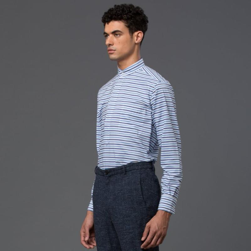 Palmiers Du Mal Blue Stripe Button Down Shirt