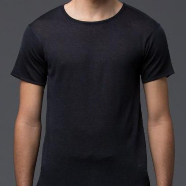 Deveaux Navy Silk Short Sleeve Tee