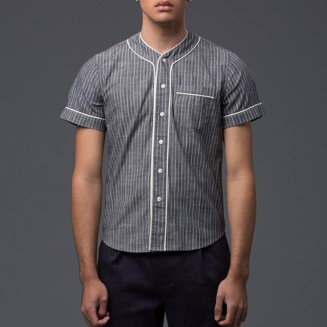 Krammer and Stoudt Grey Pinstripe Baseball Shirt