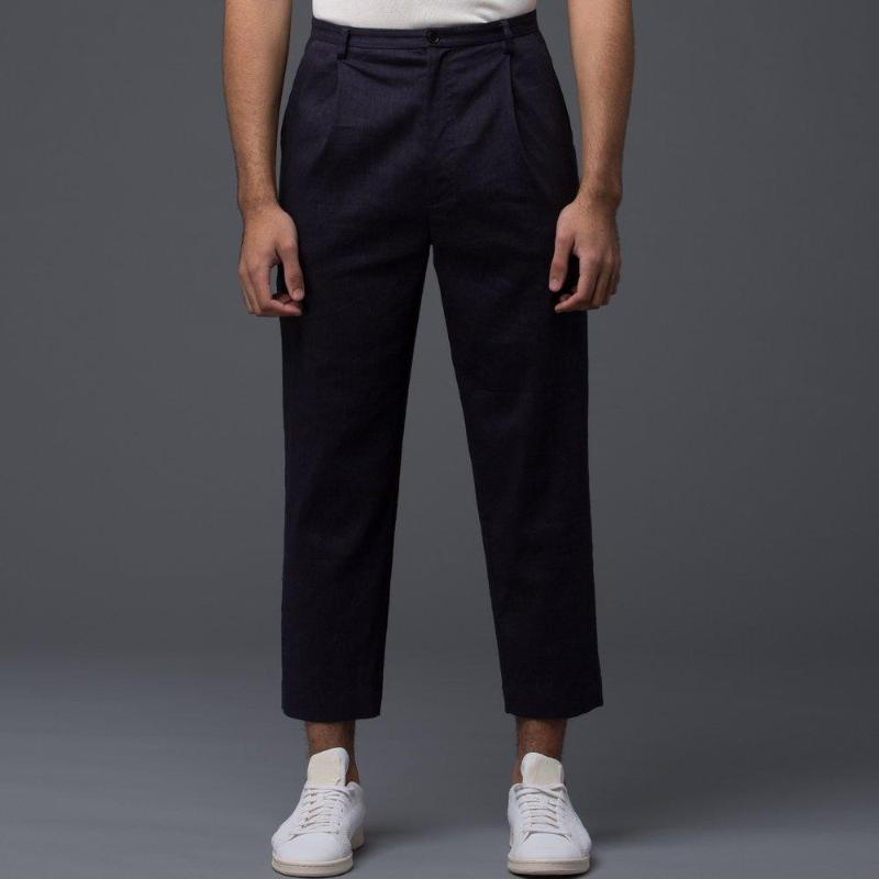 Deveaux Navy Wool Linen Pants