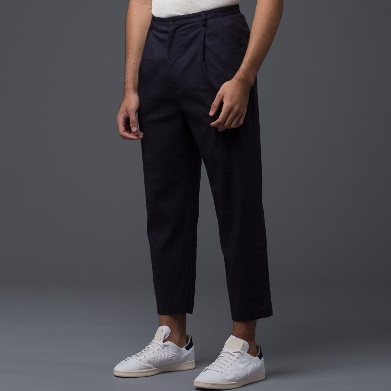 Deveaux Navy Wool Linen Trousers