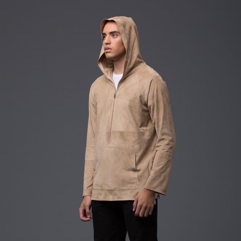 Deveaux New York Camel Sail Suede Hoodie