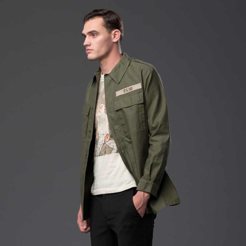 AGOLDE ASAP FERG MILITARY SHIRT IN OLIVE