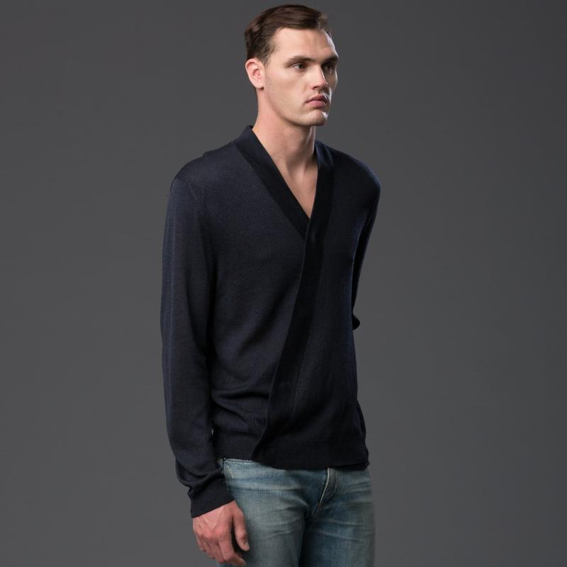 Deveaux Navy Long Sleeved Cardigan
