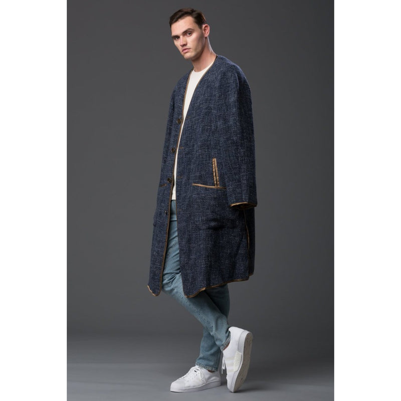 Thaddeus O'Neil Indigo Basketweave Overcoat