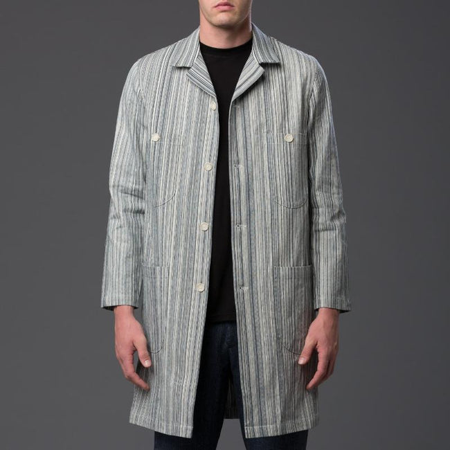 Krammer and Stoudt Railroad Stripe Denim Chore Coat