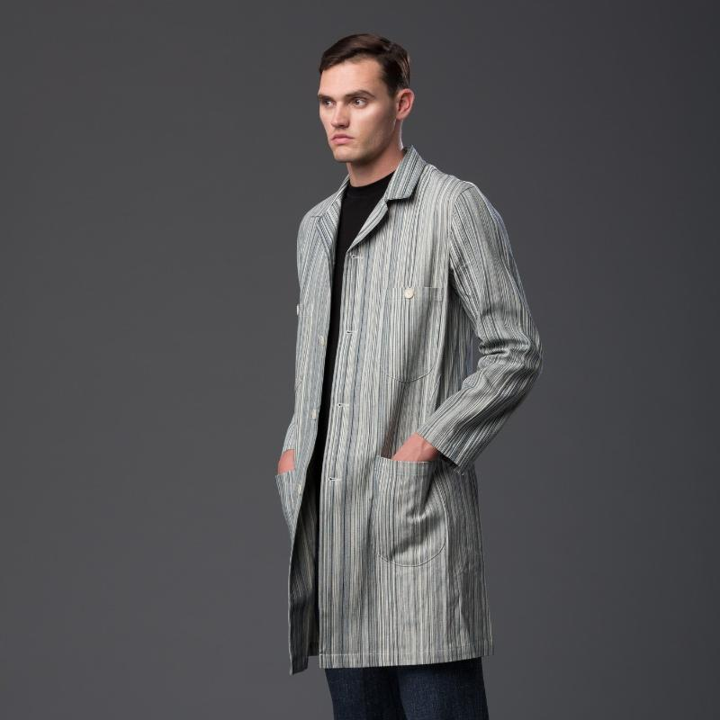 Krammer and Stoudt Striped Denim Chore Coat