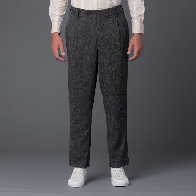 Krammer and Stoudt Grey Melange Cooper Wide Leg Trouser