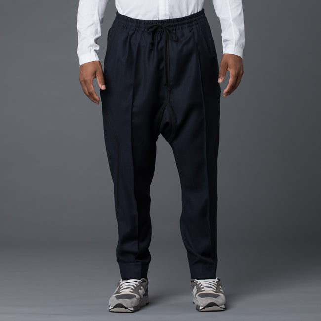 Abasi Rosborough Arc Ankara Pant in Navy Wool