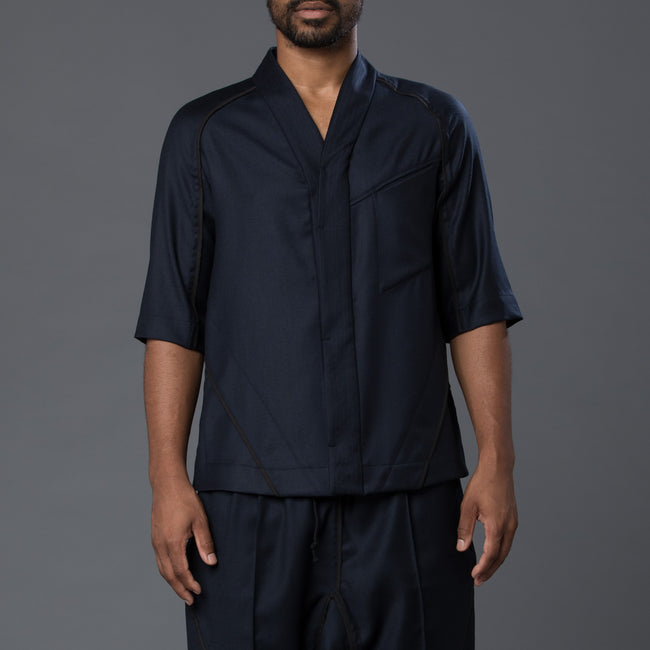 Abasi Rosborough Arc Desert Shirt in Navy Wool