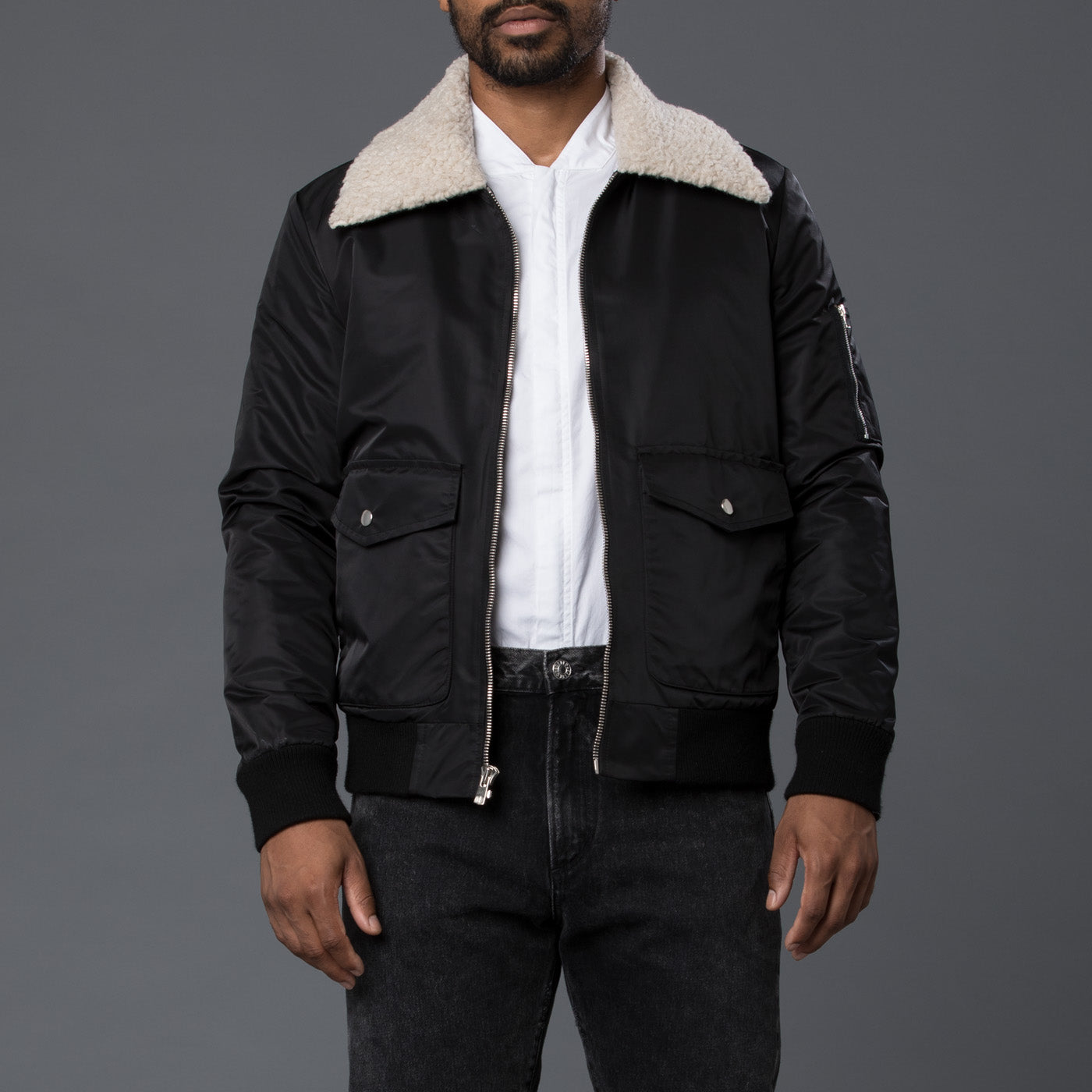 Krammer & Stoudt Black Aviator Bomber Jacket