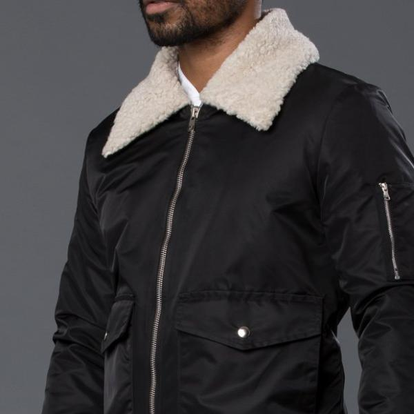Sherpa Lined Aviator Bomber Jacket