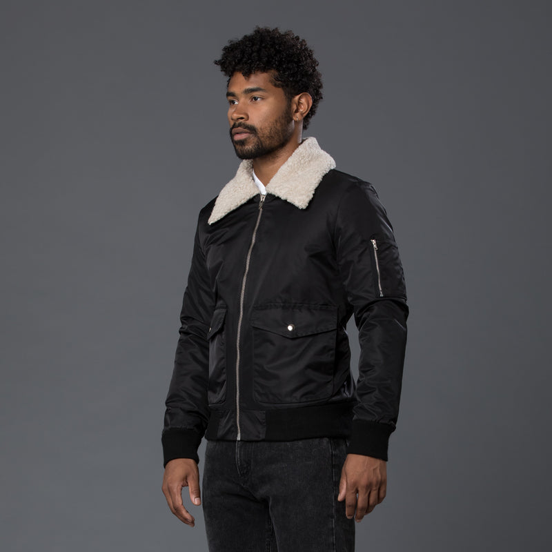 Krammer & Stoudt Black Shearling Bomber Jacket