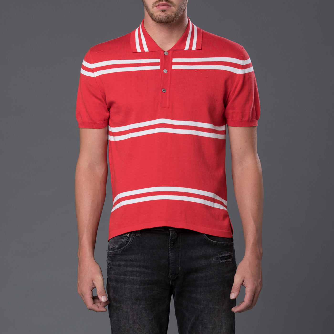 David Hart Red Striped Polo