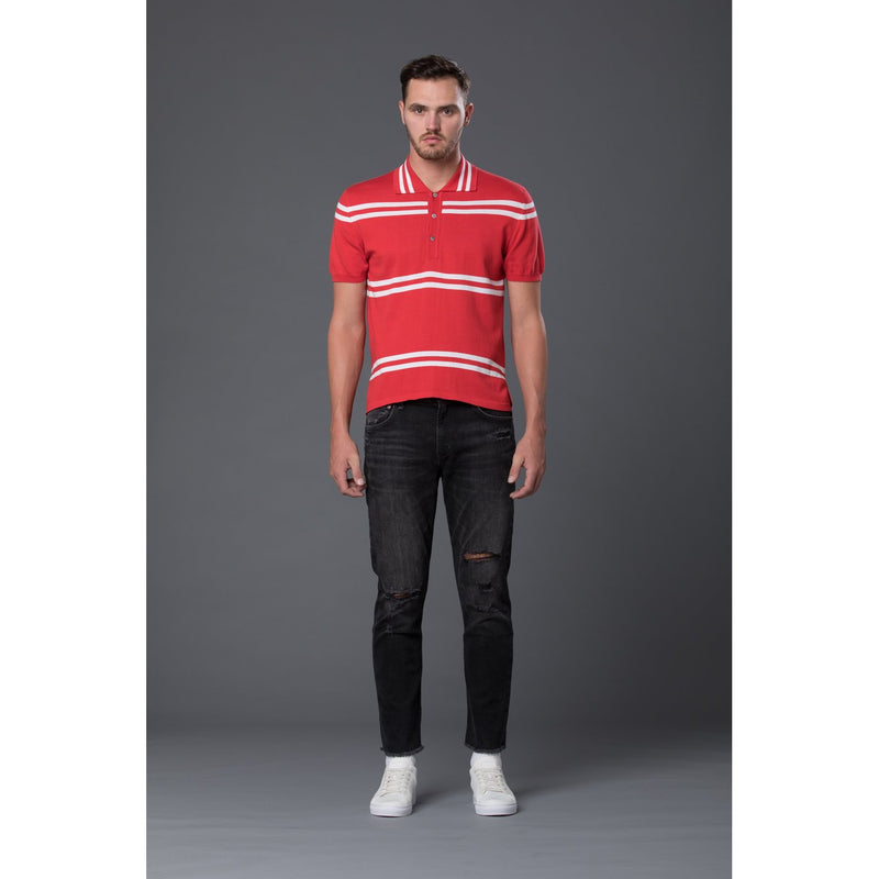 David Hart Red Striped Knit