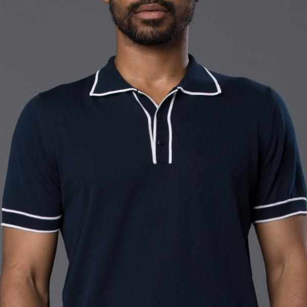 David Hart Navy Tipped Polo
