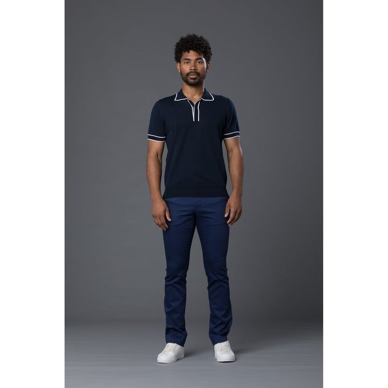 David Hart Navy and white piped polo