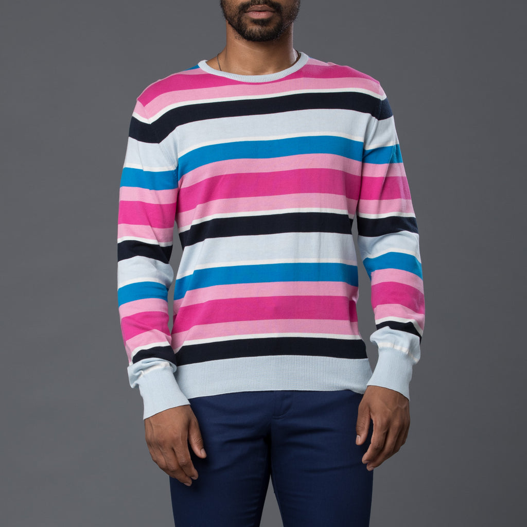 David Hart Multi-Stripe Crew Neck Sweater