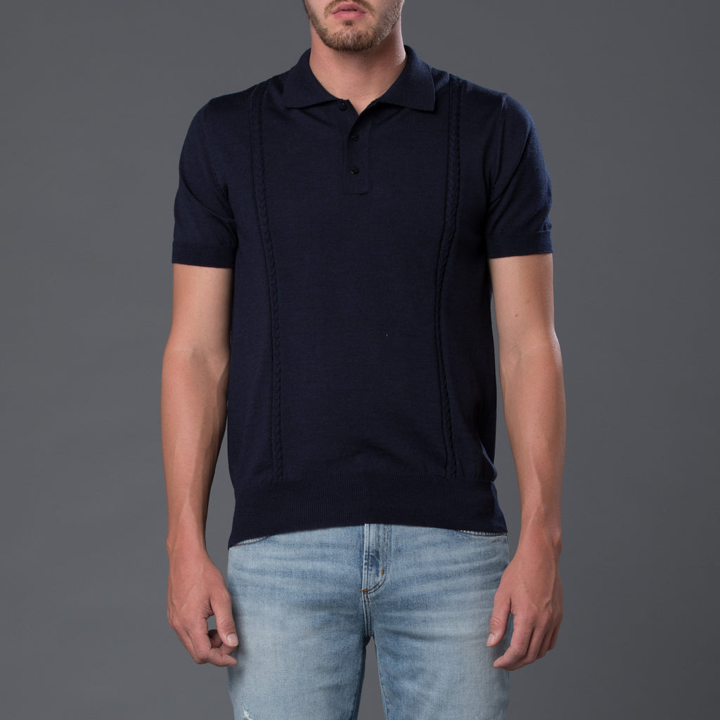 David Hart Navy Wool Polo Shirt