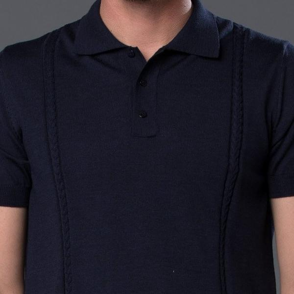 David Hart Cable Knit Polo