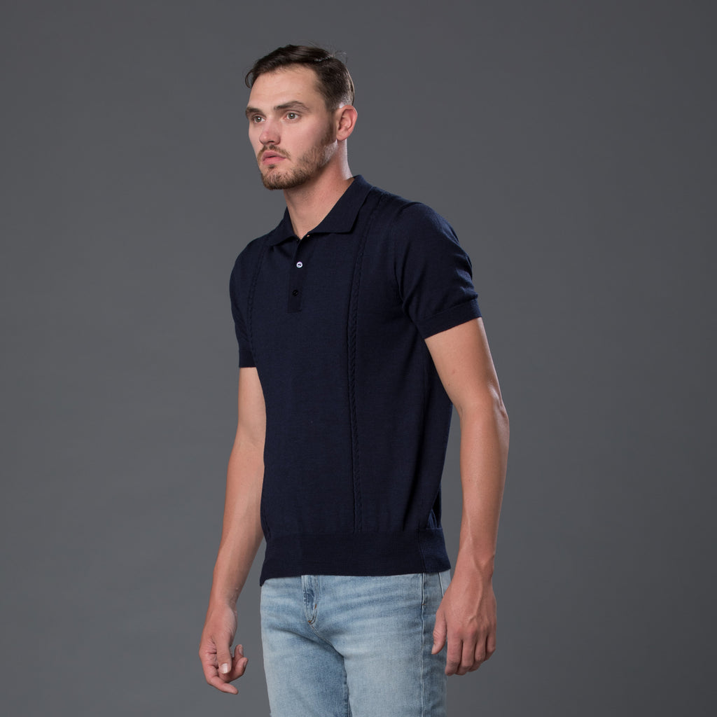 David Hart Cable-knit polo