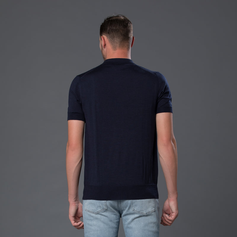 David Hart Navy Cable-knit polo