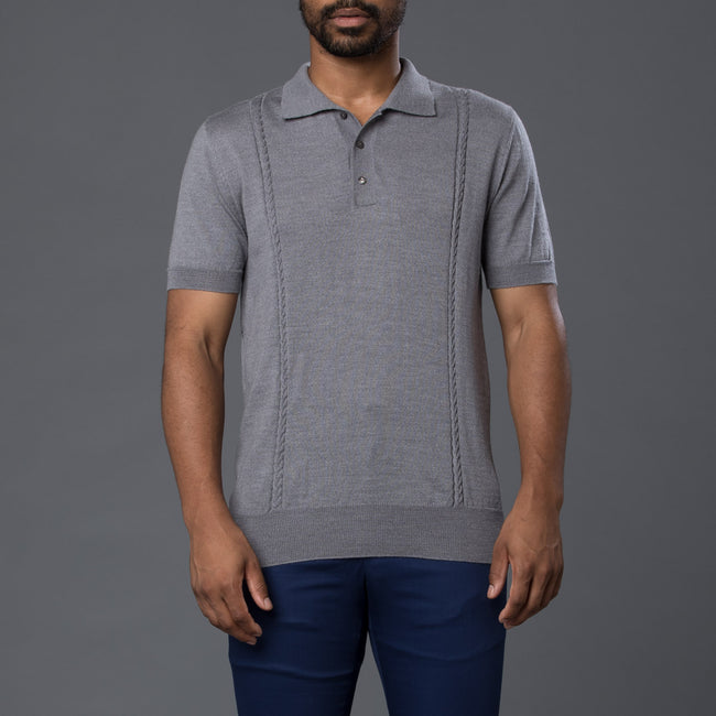 David Hart Grey Wool Polo