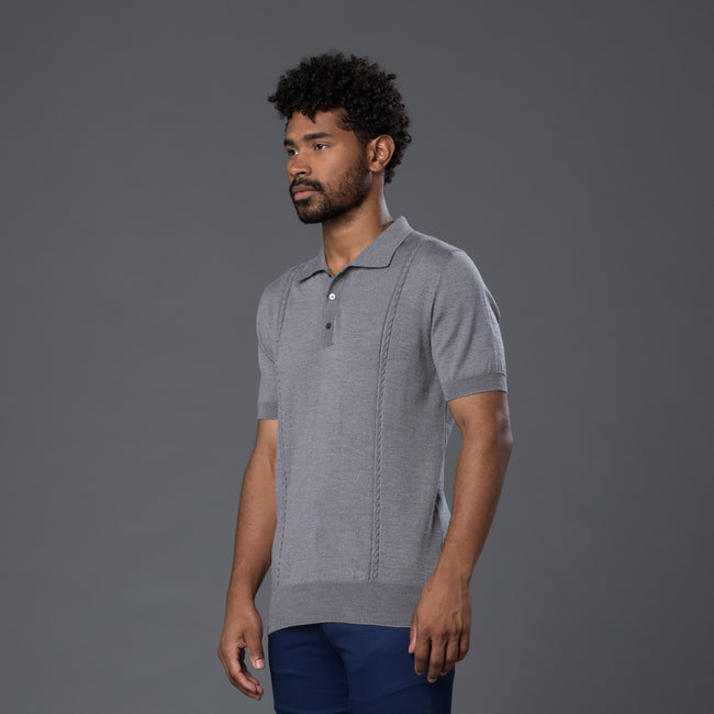 David Hart Grey Cable Knit Polo