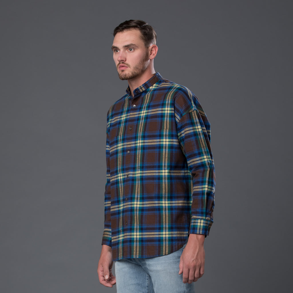 Gustav Von Aschenbach Green Boxy Plaid Shirt