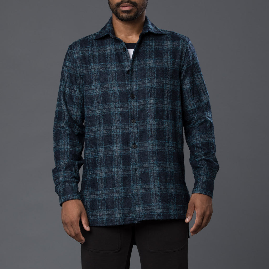 Navy & Green Wool Plaid Overshirt